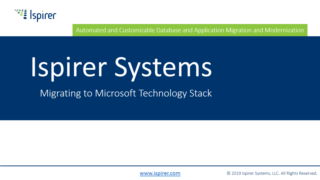 Ispirer Systems Company Presentation - Migrating to Microsoft Technologies